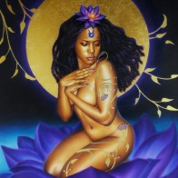Lotus Maiden ~ Original oil w/gold leaf beautifully framed 18x24 $3200, 11x14 prints $25